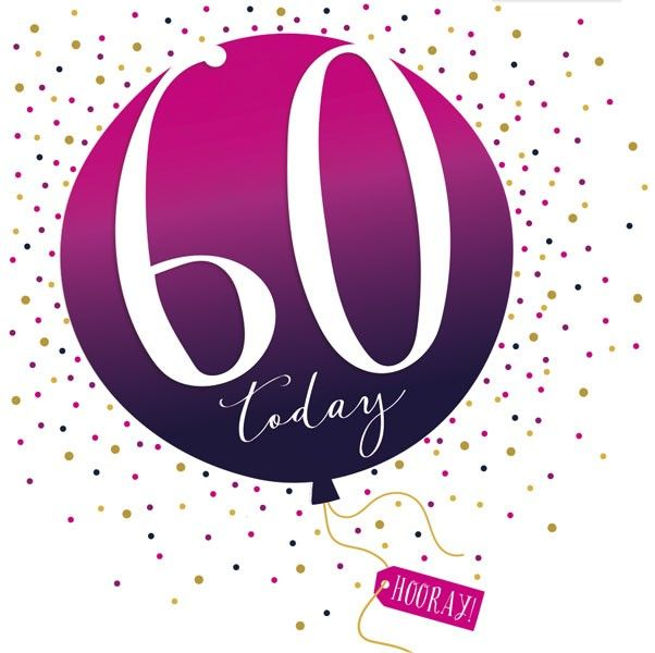 60th Birthday Card - SPARKLY & Glittery Birthday CARD - 60 Today HOORAY - C