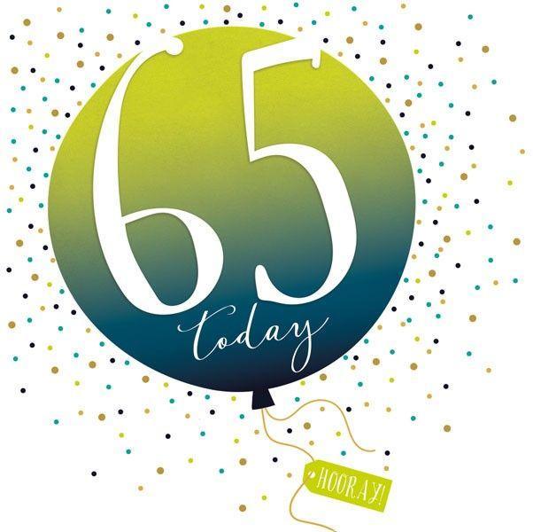 65th Birthday Card - SPARKLY & Glittery Birthday CARD - 65 Today HOORAY - C