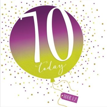 70th Birthday Card - SPARKLY & Glittery Birthday CARD - 70 Today HOORAY - Confetti Balloon DESIGN Card - MILESTONE Birthday - CARD For HIM - Her