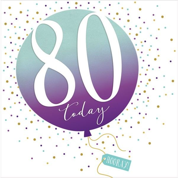 80th Birthday Card - SPARKLY & Glittery Birthday CARD - 80 Today HOORAY - C