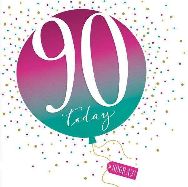90th Birthday Card - SPARKLY & Glittery Birthday CARD - 90 Today HOORAY - C