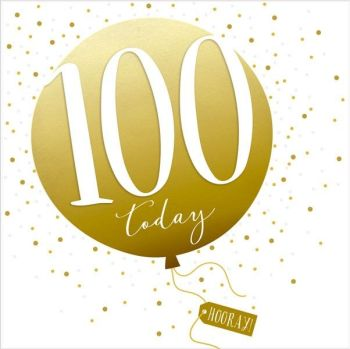 100th Birthday Card - SPARKLY & Glittery Birthday CARD - 100 Today HOORAY - Confetti Balloon DESIGN Card - MILESTONE Birthday - CARD For HIM - Her