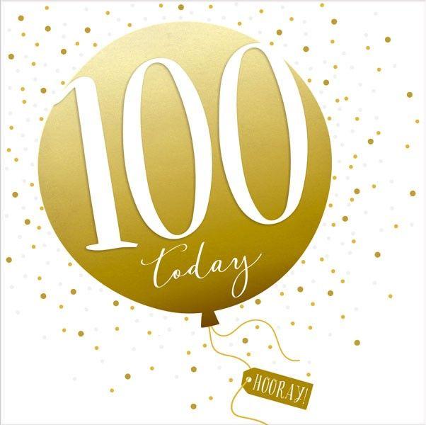100th Birthday Card - SPARKLY & Glittery Birthday CARD - 100 Today HOORAY -