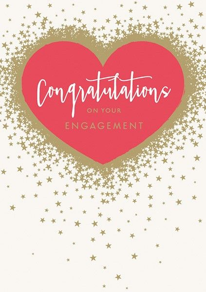 Engagement Cards - CONGRATULATIONS On Your ENGAGEMENT - RED Heart & GOLD Fo