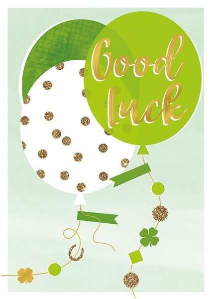 Stunning Green & Gold Good Luck Card - GOOD LUCK - Blank GREETING Cards - G