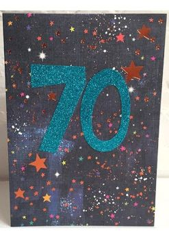 70th Birthday Card - SPARKLY Card - COPPER Foil Card - UNIQUE Birthday CARD - Age 70 Birthday CARD - CARD For DAD - Uncle - GRANDAD - Brother