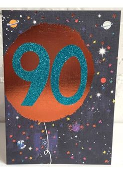90th Birthday Card - SPARKLY Card - COPPER Foil Card - SPACE Birthday CARD - Age 90 Birthday CARD - CARD For Brother - DAD - Grandad - UNCLE