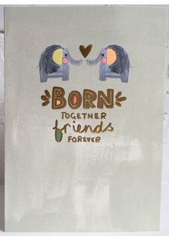 New Twins & Twin Birth Cards - BORN Together FRIENDS Forever - Cards For TWIN Baby - GREETING Cards For TWINS Birth - TWINS Card - CUTE Elephants CARD