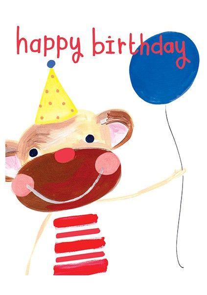 Cheeky Monkey Birthday Card - HAPPY Birthday - MONKEY Birthday Card - CHILD