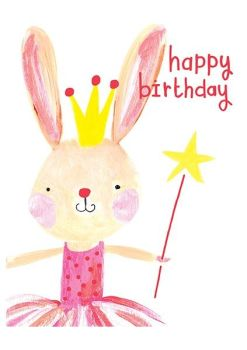 Birthday Card for girl - Bunny CARD - HAPPY Birthday - Princess BIRTHDAY Card - Bunny GREETING Cards - CUTE Card for DAUGHTER - Granddaughter - NIECE
