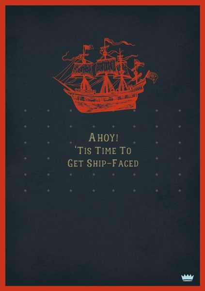 Male Birthday Cards - AHOY - Get SHIP Faced - FUNNY Cards - BANTER Cards -