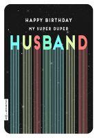 Husband Birthday Cards - MY Super DUPER Husband - RETRO Birthday CARD - Birthday CARDS For HUSBAND - Happy BIRTHDAY Card - BIRTHDAY Greeting CARD