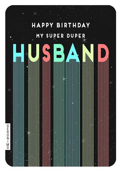 Husband Birthday Cards - MY Super DUPER Husband - RETRO Birthday CARD - Bir