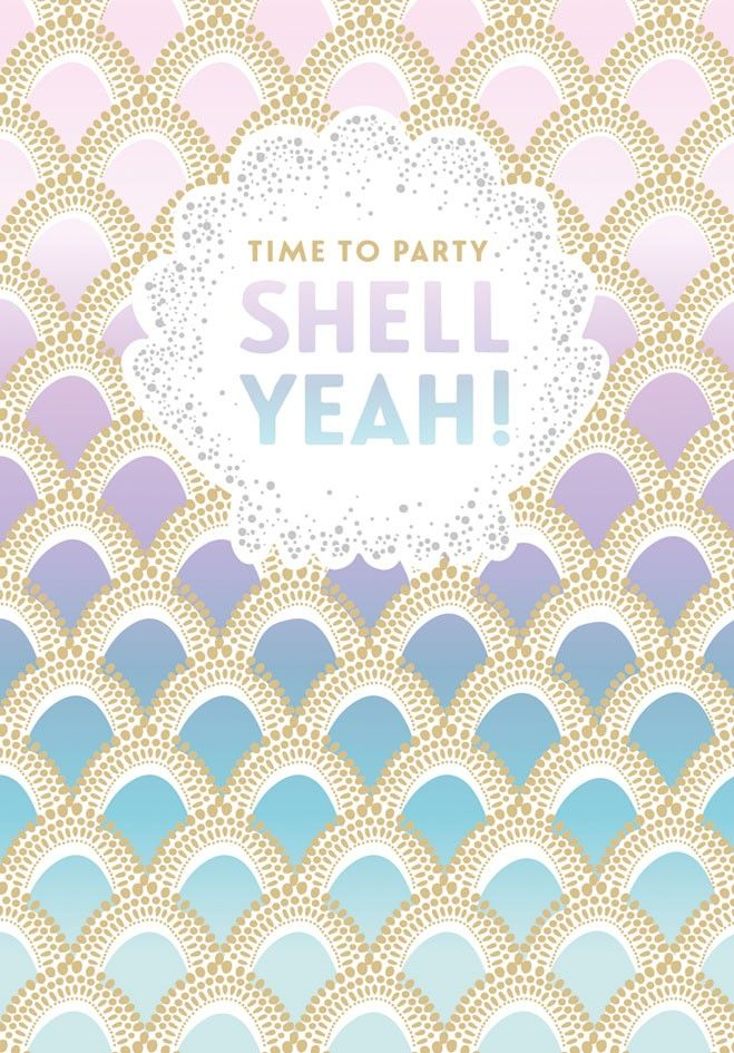 Birthday Card - TIME To PARTY - Mermaid GREETING Card - PARTY Card - PRETTY
