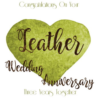 Handmade - Anniversary Cards - 3 YEAR Wedding Anniversary - Leather - CONGRATULATIONS - WEDDING Anniversary Card - Anniversary CARDS For HUSBAND