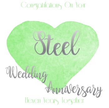 Handmade - Anniversary Cards - 11 YEAR Wedding Anniversary - Steel - CONGRATULATIONS - WEDDING Anniversary Card - Anniversary CARDS For HUSBAND