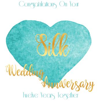 Handmade - Anniversary Cards - 12 YEAR Wedding Anniversary - Silk - CONGRATULATIONS - WEDDING Anniversary Card - Anniversary CARDS For HUSBAND - Her