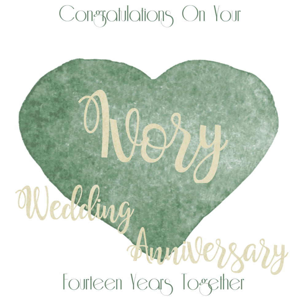 14th Wedding Anniversary Card Ivory Anniversary Card