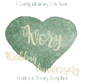 14th WEDDING ANNIVERSARY CARD - Ivory - ANNIVERSARY Card - WEDDING Anniversary Card