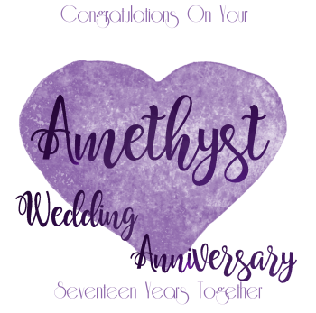 Handmade - Anniversary Cards - 17 YEAR Wedding Anniversary - Amethyst - CONGRATULATIONS - WEDDING Anniversary Card - Anniversary CARDS For Wife - HIM