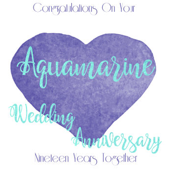 Handmade - Anniversary Cards - 19 YEAR Wedding Anniversary - Aquamarine - CONGRATULATIONS - WEDDING Anniversary Card - Anniversary CARDS For PARENTS