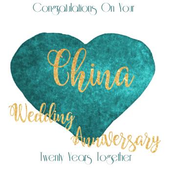20th WEDDING ANNIVERSARY CARD - China -  ANNIVERSARY Card - WEDDING Anniversary Card
