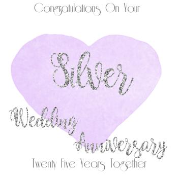 25th WEDDING ANNIVERSARY CARD - Silver - ANNIVERSARY Card - WEDDING Anniversary Card