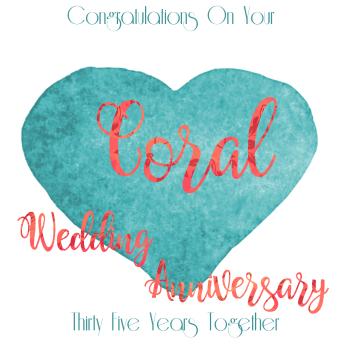 35th WEDDING ANNIVERSARY CARD - Coral - ANNIVERSARY Card - WEDDING Anniversary Card