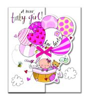 New Baby Girl Cards - A NEW Baby GIRL How LOVELY - New BABY Cards - BABY Greeting CARDS - Baby GIRL Cards - CUTE Baby Balloons CARD