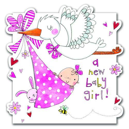 Cartoon a new baby girl card hand painted greeting card newborn cartoon a new baby girl card hand painted greeting card newborn baby babyshower card m4hsunfo