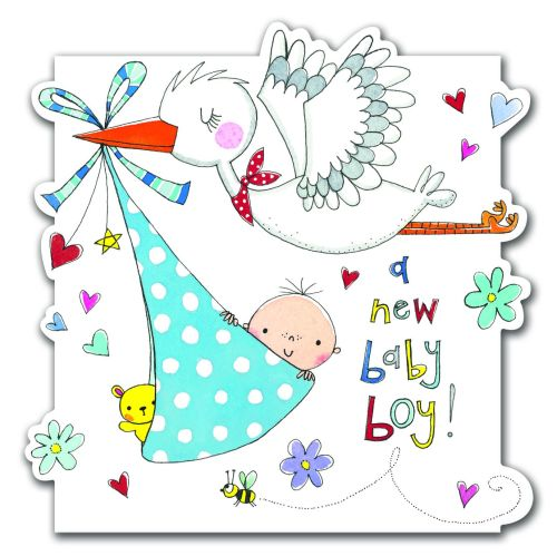 New Baby Boy Cards - A NEW Baby BOY - BABY & Stork Card - NEW Baby CARD - B