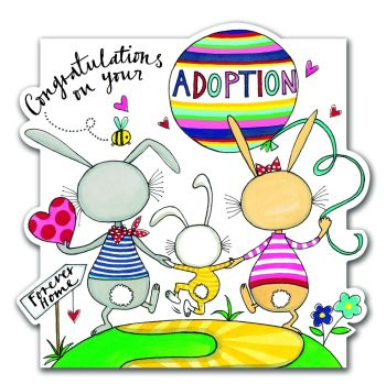 Adoption Card - Congratulations On Your Adoption - Hand PAINTED