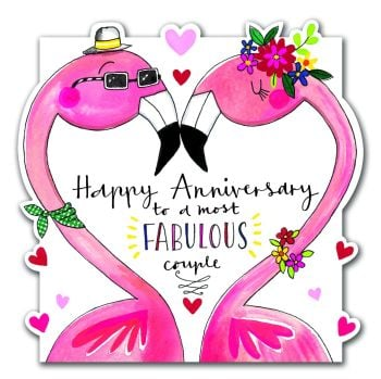 Flamingo Anniversary - A Most FABULOUS Couple - HAPPY Anniversary FLAMINGO Card - COUPLE Anniversary CARDS - Funny ANNIVERSARY Cards - ANNIVERSARY