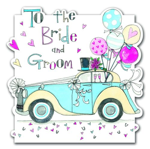 Wedding Cards - To the BRIDE & GROOM - Vintage CAR & Balloons Wedding Card