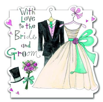 Bride And Groom Wedding Card - WITH LOVE - Hand PAINTED