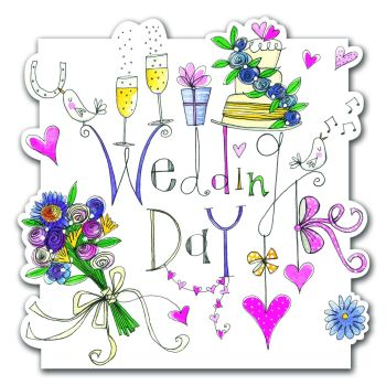 Colourful Wedding Day Card - Hand PAINTED