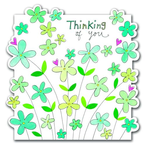 Thinking Of You Greeting Card - PRETTY Flowers SYMPATHY Card - Thoughtful F