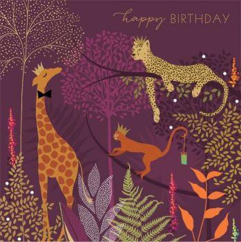 Happy Birthday Cards - HAPPY BIRTHDAY - Jungle BIRTHDAY Card - LUXURY Foil BIRTHDAY Card - BIRTHDAY Cards For DAD - Mum - GRAN - Grandpa