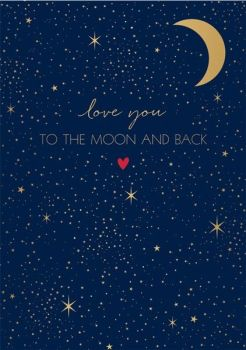 Moon & Back Valentines Card - I LOVE YOU TO THE MOON & BACK - Valentines FOR Her - Valentines for HIM - Husband VALENTINES Card - WIFE Valentines CARD