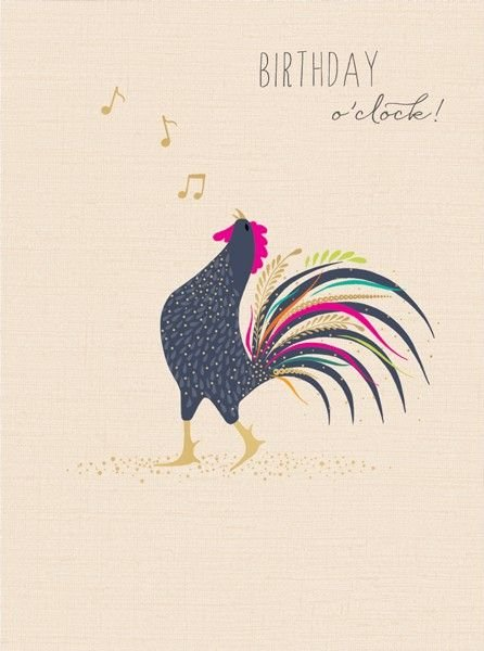 Funny Male Birthday Cards - BIRTHDAY O'CLOCK - ROOSTER Birthday CARDS - Coc