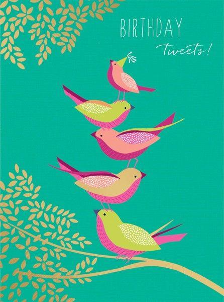 Birthday Card - BIRTHDAY Tweets - BIRTHDAY Tweets Card - BIRD Birthday CARD