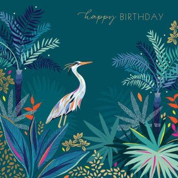 Happy Birthday Cards - HAPPY BIRTHDAY - Heron HAPPY Birthday CARD - Heron In JUNGLE Birthday CARD - Birthday CARD For FRIEND - HIM - Her