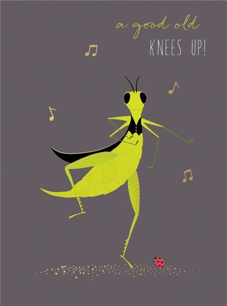 Birthday Card for Him - Dancing Cricket Card - A GOOD Old Knees UP - FUNNY