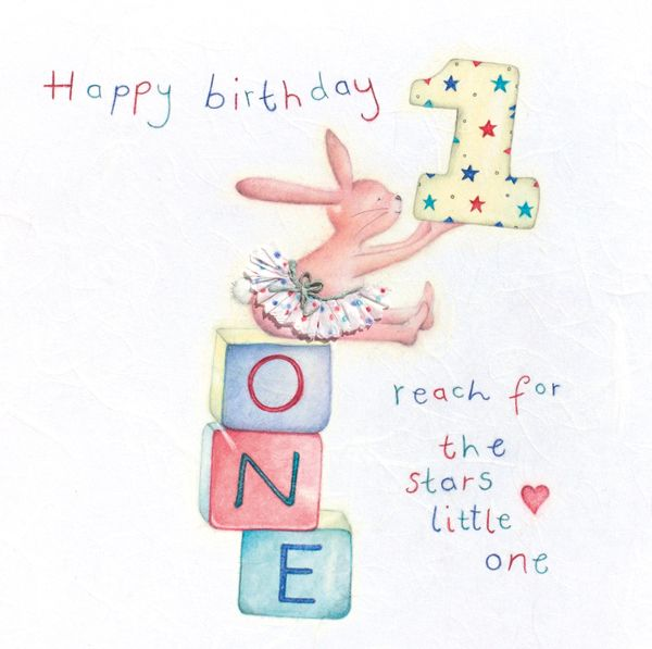 1st Birthday Card Girl S Age 1 Bunny Greeting Card