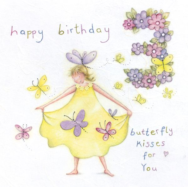 3rd Birthday Card Girl - Butterfly KISSES For YOU - Children's BIRTHDAY - H