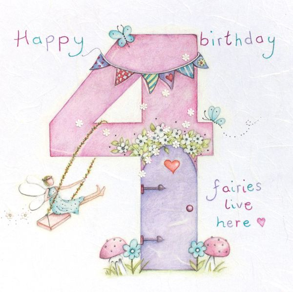 4TH Birthday Card Girl - Fairy BIRTHDAY Card - HAPPY Birthday - Children's