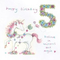 5th Birthday Card Girl - Unicorn BIRTHDAY Card - BELIEVE In UNICORNS & Magic - Children's 5th BIRTHDAY Card For DAUGHTER - Niece - Granddaughter - SIS