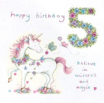 5th Birthday Card Girl - Unicorn BIRTHDAY Card - BELIEVE In UNICORNS & Magic - Children's 5th BIRTHDAY Card For DAUGHTER - Niece - Granddaughter - SIS