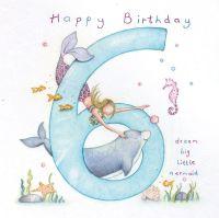 6th Birthday Card Girl - Mermaid BIRTHDAY Card - DREAM Big LITTLE Mermaid - Children's 6th BIRTHDAY Card - GODDAUGHTER - Niece - Granddaughter CARD
