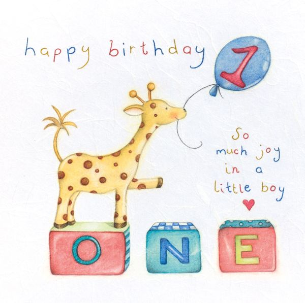 1st Birthday Card Boy - Giraffe 1st Birthday CARD - Children's Greeting CAR